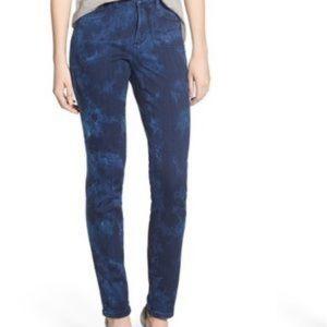 Nydj Dark Tie Dye Straight Jeans w Tummy Tuck 16